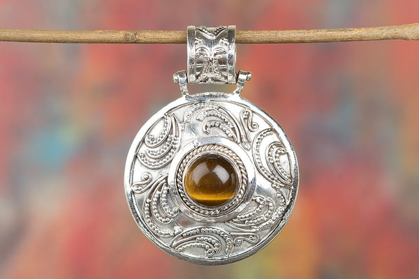 Charming Tiger Eye Gemstone Sterling Silver Pendant