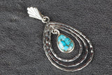 Lovely Blue Copper Turquoise Gemstone Sterling Silver Pendant