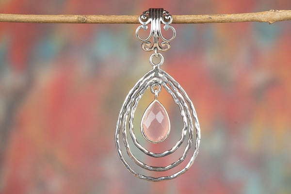 Chunky Faceted Rose Quartz Gemstone Sterling Silver Pendant