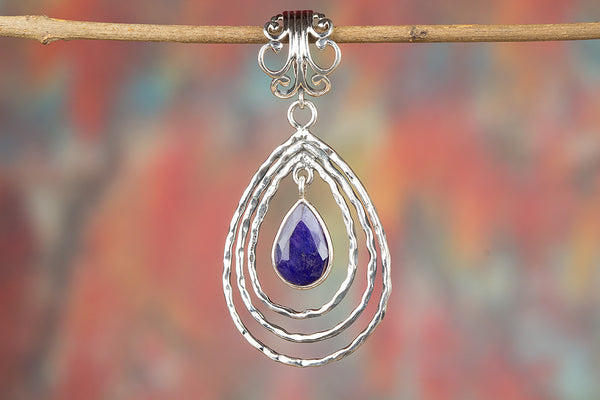 Fantastic Sapphire Gemstone Sterling Silver Pendant
