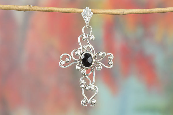 Cross Shape Black Onyx Gemstone Silver Pendant