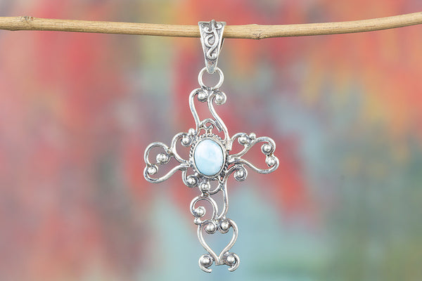 Cross Shape Larimar Gemstone Silver Pendant