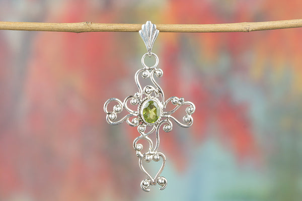 Cross Shape Peridot Gemstone Silver Pendant
