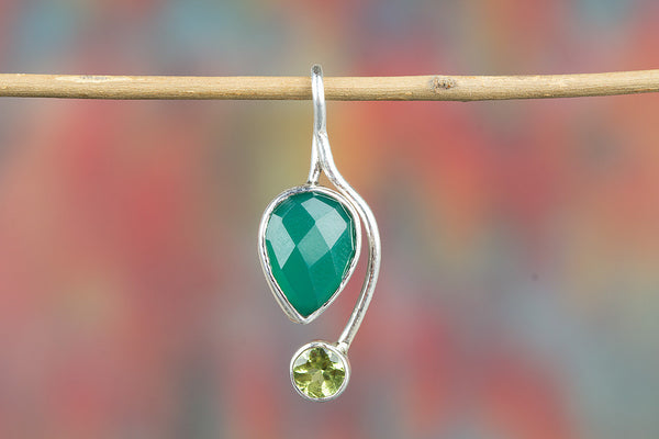 Awesome Faceted Green Onyx Gemstone Sterling Silver Pendant