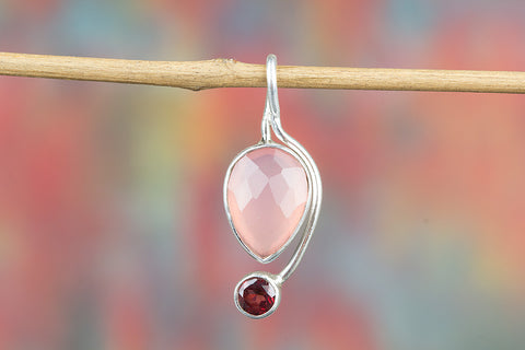 Amazing Faceted Rose Quartz Gemstone Sterling Silver Pendant