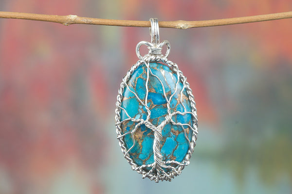 Chunky Blue Copper Turquoise Gemstone Sterling Silver Pendant