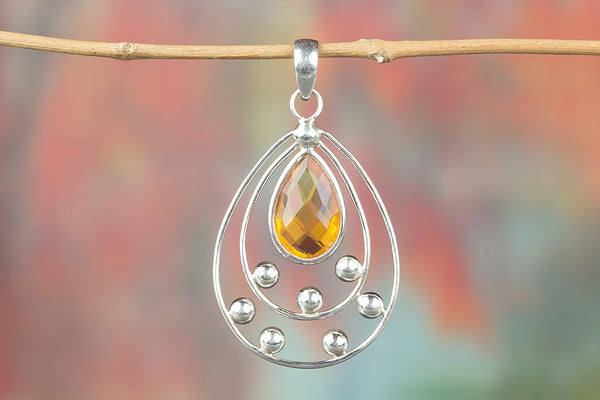 Faceted Citrine Lab Gemstone Silver Pendant