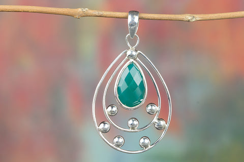 Faceted Green Onyx Gemstone  Silver Pendant