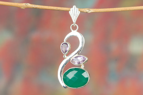 Faceted Green Onyx & Amethyst Gemstone Pendant
