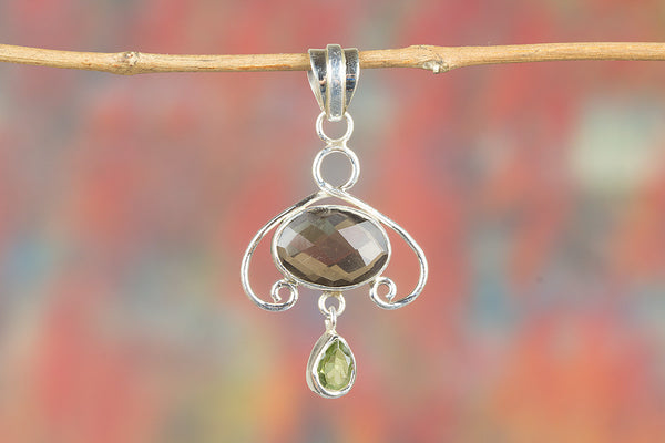 Faceted Smoky Quartz & Peridot Gemstone Pendant