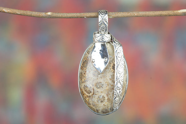 Faceted Fossil Coral Gemstone Silver Pendant