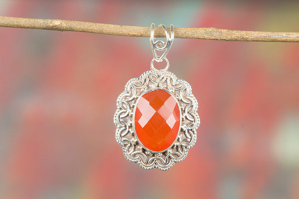 Faceted Carnelian Gemstone Silver Pendant