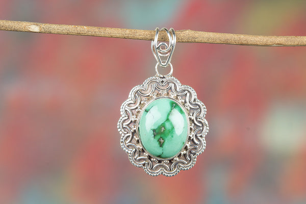 Natural Turquoise Gemeston 925 Silver Pendant