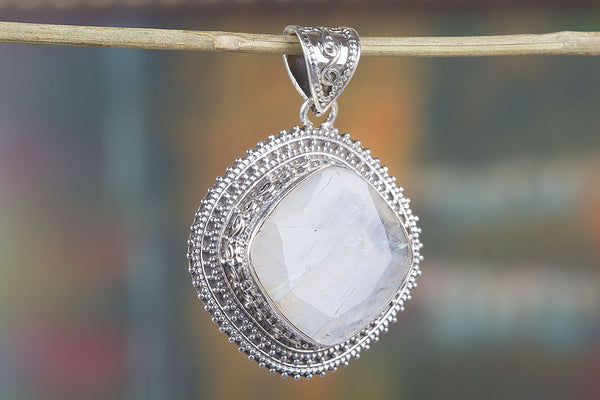 Faceted Rainbow Moonstone Gemstone Pendant, 925 Silver, Moonstone Pendant, Designer Pendant, Women Silver Pendant, 925 Sterling Silver, Gift For Her