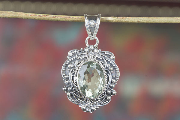 Faceted Green Amethyst Gemstone Silver Pendant
