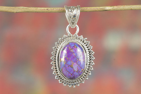 Purple Copper Turquoise Gemstone Silver Pendant