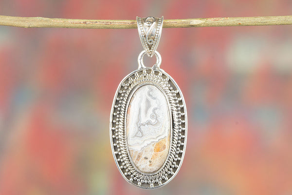 Crazy Lace Agate Gemstone Silver Pendant,