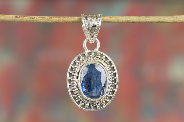 Natural Kyanite Gemstone Sterling Silver Pendant,