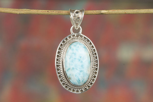 Beautiful 925 Sterling Silver Larimar Gemstone Pendant,