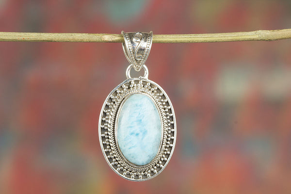 Genuine 92.5 % Sterling Silver Larimar Gemstone Pendant,