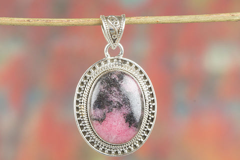 Awesome Sterling Silver Rhodonite Gemstone Pendant,