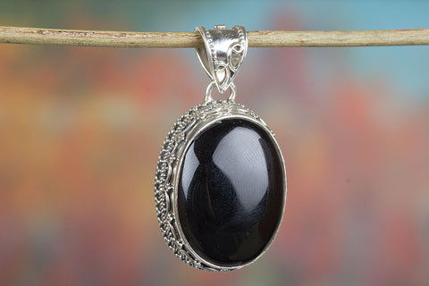 Amazing  Sterling Silver Black Onyx Pendant,