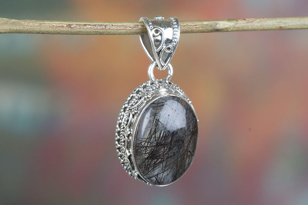 Wow 925 Sterling Silver Black Rutile Pendant,