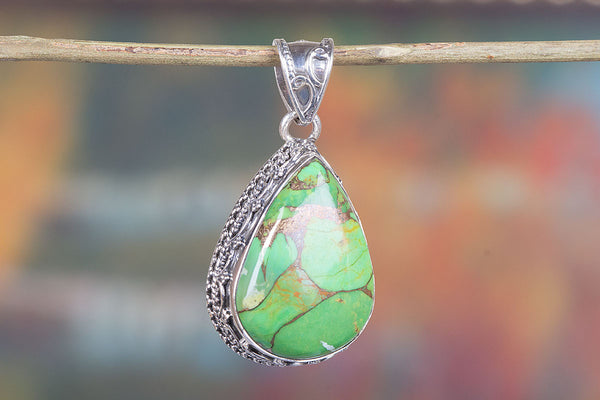 Green Turquoise Gemstone Sterling Silver  Pendant,