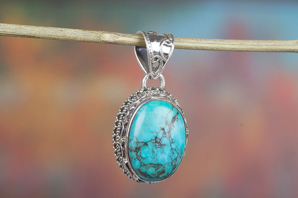 Wonderful Natural Turquoise Gemstone Sterling Silver Pendant,