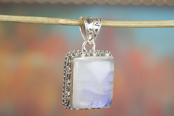 Square Shape Rainbow Moonstone Sterling Silver Pendant