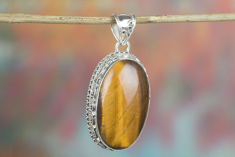 Amazing  Sterling Silver Tiger Eye Pendant,