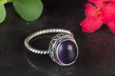 Wonderful Amethyst Gemstone Sterling Silver Ring,