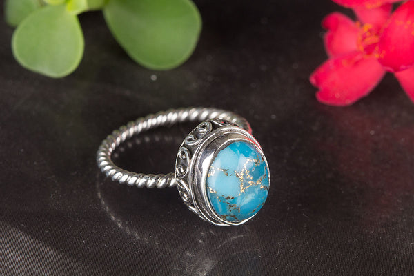 Amazing Blue Copper Turquoise Gemstone Silver Ring,