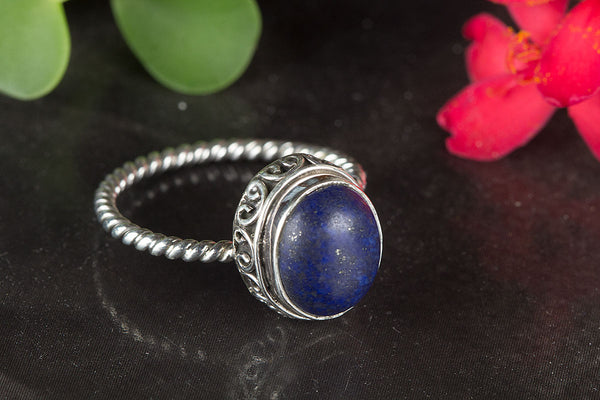 Lapis Lazuli Ring, 925 Silver, Dainty Ring, Charm Ring, Vintage Ring, Alternative Ring, Artisan Ring, Gypsy Ring, Unique Elegant Ring, Eye Catch Ring, Attractive Ring, Daily Wear Ring, Yoga Ring, Relationship Ring, Girlfriend Ring, Gift Her