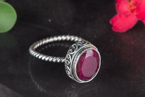 Amazing Ruby Gemstone Silver Ring,