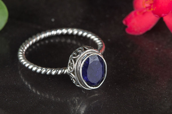 Beautiful Sapphire Gemstone Sterling Silver Ring,