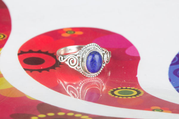 Lapis Lazuli Gemstone Pure Sterling Silver Ring