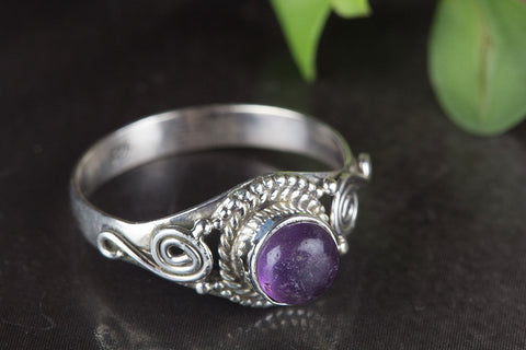 Beautiful Amethyst Gemstone Sterling Silver Ring,