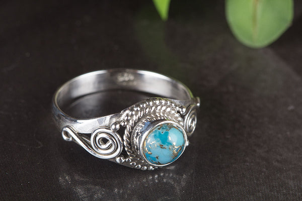 Blue Copper Turquoise Ring Petite Ring Elegant Ring Gypsy Ring Delicate Ring Unique Stylish Ring Statement Ring Victorian Ring Engagement Ring Gift Her.