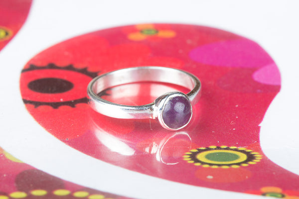Beautiful Silver Amethyst Gemstone Ring