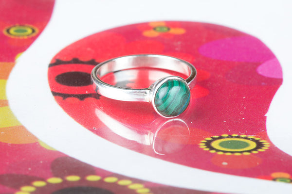 Beautiful Silver Malachite Gemstone Ring