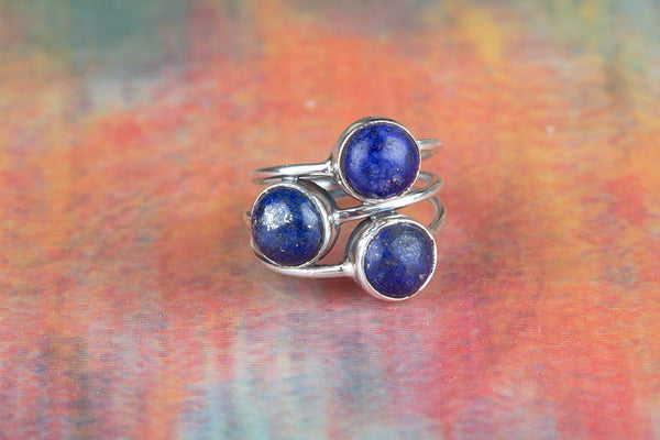Lapis Lazuli Ring, 925 Silver, Three Stone Ring, Handmade Ring, Charm Ring, Gypsy Ring, Yoga Ring, Gypsy Ring, Elegant Ring, Everyday Ring, Yoga Ring, Delicate Ring, Special Occasion Ring, Anniversary Ring, Wedding Ring, Girlfriend Ring, Gift Her