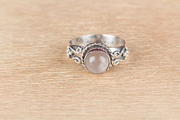Wonderful Rose Quartz Gemstone Sterling Silver Ring