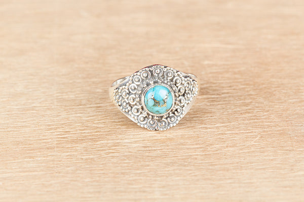 Wonderful Blue Copper Turquoise Gemstone Sterling Silver Ring