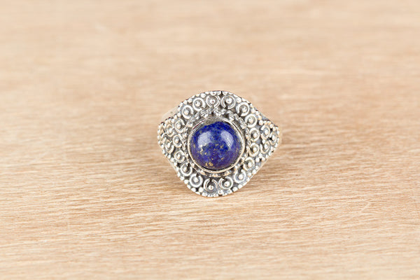 Lapis Lazuli Ring, 925 Silver, Stylish Design Ring, Victorian Ring, Round Shape Ring, Special Occasion Ring, Granulation Ring, Charm Ring, Rare Ring, Gypsy Ring, Eye Catch Ring, Attractive Ring, Anniversary Ring, Exquisite Ring, Wedding Gift