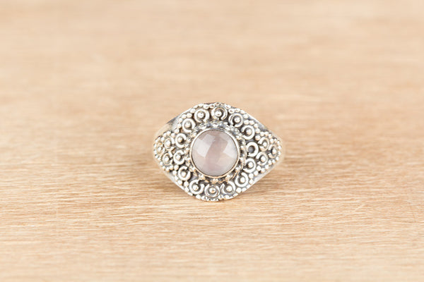 Beautiful Faceted Rose Quartz Gemstone Sterling Silver Ring,