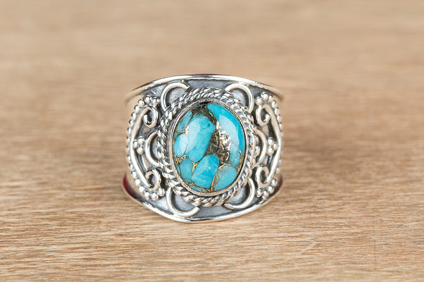 Beautiful Blue Copper Turquiose Gemstone Sterling Silver Ring,