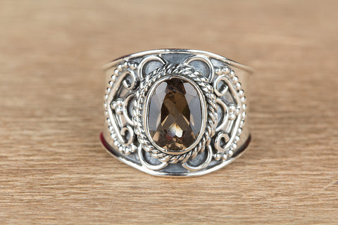 Beautiful Faceted Smoky Quartz Gemstone Sterling Silver Ring,