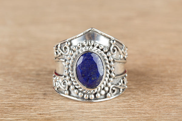 Beautiful Faceted Lapis Lazuli Gemstone Sterling Silver Ring,