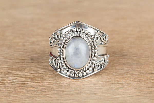 Beautiful Rainbow Moonstone Sterling Silver Ring,